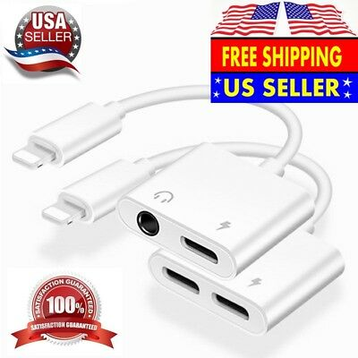 For iPhone X 8 7/7Plus XS MAX Headphone Audio Charge Adapter Splitter Cord 2 in1