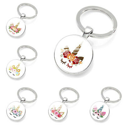 Magical Unicorn Keychain Round Glass Pendant Keyring Girls' Accessories