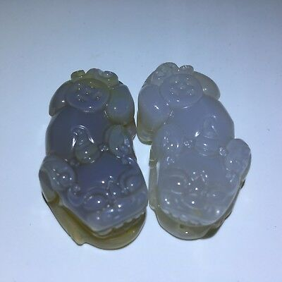 Natural  chalcedony agate  Jade Icy hand carved Pendant Pixiu 貔貅 2pcs S193