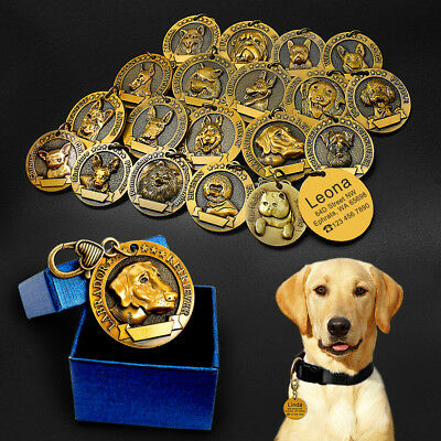 Dog Tag Engraved 3D Personalized Pet Name ID Collar Tag with 18 Breeds Labrador
