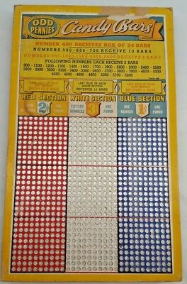 Unpunched 900 Hole Odd Pennies Candy Bars Punch Board