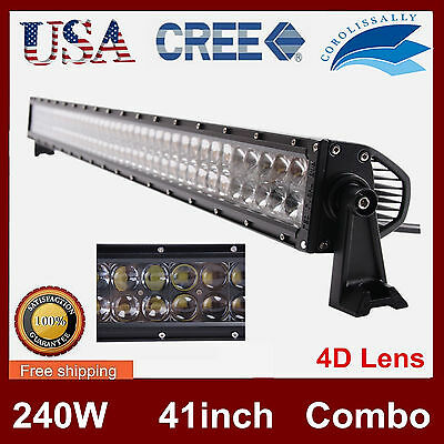 "42inch 240W CREE FLOOD&SPOT LED LIGHT BAR OFFROAD DRIVING LAMP SUV 4D VS 40"" NEW"