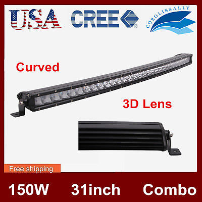 "CURVED 31inch 150W 3D Opticals Offroad Single Row CREE LED Light ATV PK 30"" NEW"