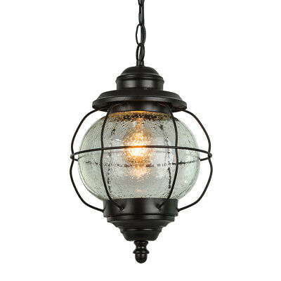 LNC 1-Light Industrial Outdoor Pendant,Matte Black,Frosted Glass Shade