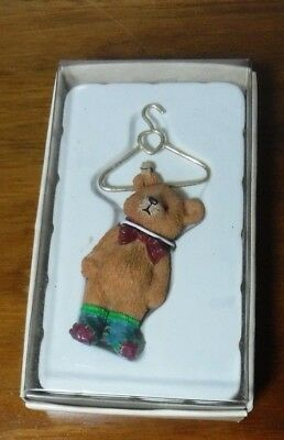 """Vintage - Bears From The Past """"Bear Hanging By Clothes Pin"""" by Russ Berrie"""