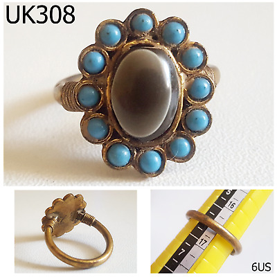 Rare Blue Turquoise Stones With Goat EYE Agate Bronze Ring Size 6US Ring #UK308a