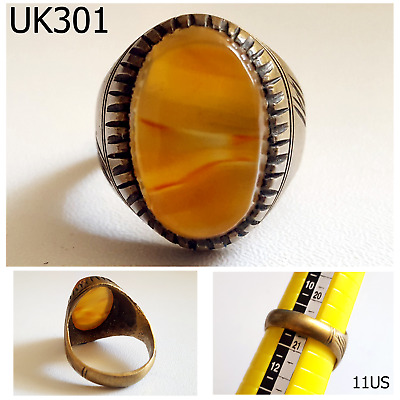 Old Greek Roman Style Carnelian Agate Jelly REAL Silver Ring Size 11 US #UK301a