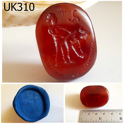 Very Erotic Red Carnelian Kama Sutra intaglio Symbol Carved Bead #UK310a
