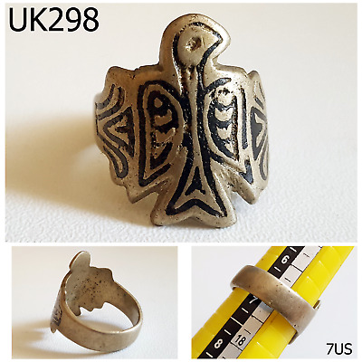Excavated Style Egyptian Script Carved Bird Silver Mix Ring Size 7 US #UK298a