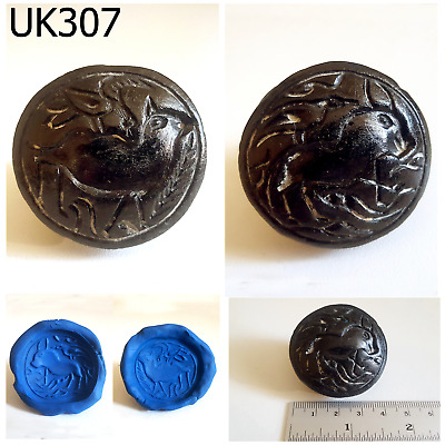 Huge Old Bactrian 2 Side Intaglio Animals Black Stone Coin Bead #UK307a
