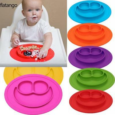 Cartoon Smile Shape Kids Divided Suction Plate Baby Led Weaning Silicone FLTO
