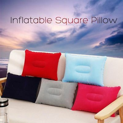 Bed Car Home Square Inflatable Air Pillow Hiking Camping Rest Flocking Cushion