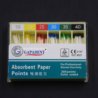 1 Box Dental Absorbent Paper Points Gutta Percha Points #15-40 Color Coded