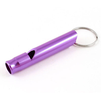 Purple Metal Pet Dog Puppy Obedience Training Whistle w Key Chain Ring