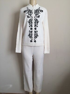St. John Collection By Marie Gray Knit Ivory Pant Suit Size 8