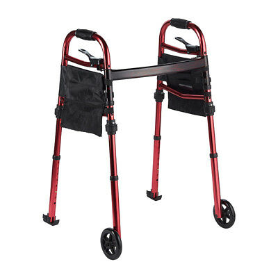 Aluminium Walking Frame Heavy-Duty 2 Wheels Height adjustable with glides