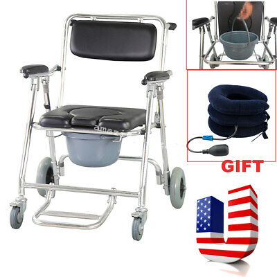 Commode Wheelchair Bedside Toilet&Shower Chair Bathroom Rolling Chair+Gift USA