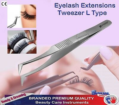 L-Type Volume Eyelash Extension Tweezers Curved 3D-6D Lash Extensions Tools CE