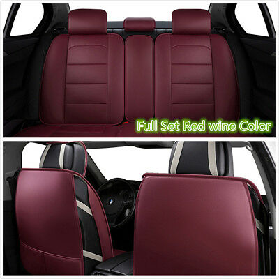 Luxury PU Leather Car Seat Covers Universal Full Seat Cover Protector Red Wine