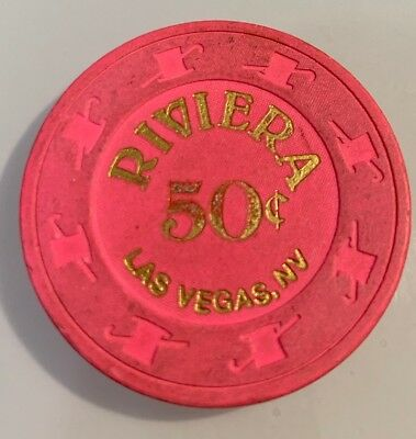 RIVIERA $.50 Casino Chip Las Vegas Nevada 2.99 Shipping