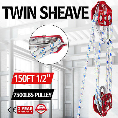 Twin sheave block and tackle 7500Lb pulley 150 feet 1/2 Double Braid Rope