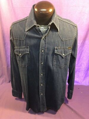 Mens SEARS VINTAGE WESTERN L LARGE PEARL SNAP COTTON DENIM SHIRT