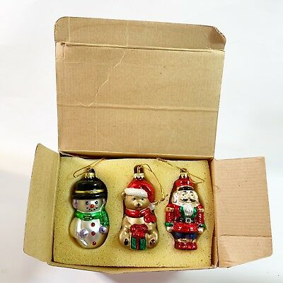 Avon Traditional Glass Ornaments Set of 3 Santa Bear Snowman  New In Box