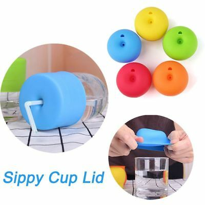 Grade Stretchable Leakproof Silicone Lids Cup Cover Sippy Bottle Water Straw