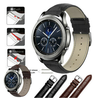 Crocodile Pattern Leather Watch Band Strap For Samsung Gear S3 Classic/Frontier