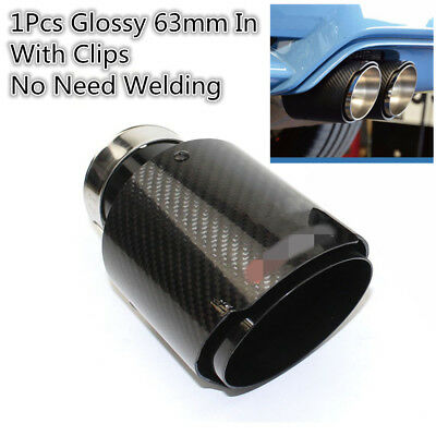 63mm Inlet Out 101mm Glossy Carbon Fiber Car Exhaust Pipe Tail Muffler End Tip