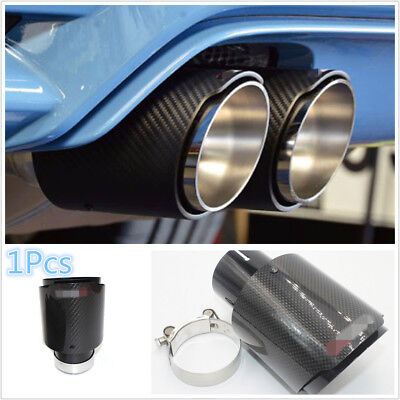 Inlet 63mm Outlet 101mm 100% Real Carbon Fiber Glossy Black Exhaust Tips Muffler