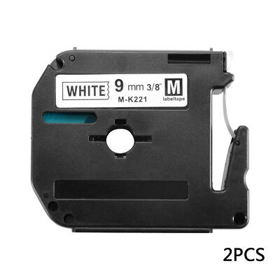 2x Compatible With Brother P-touch Label M-K221 9mm WHITE Tape PT90 MK221 BI1042