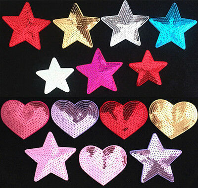 Sequins Star Heart Embroidery Sew On Iron On Patch Badge Fabric Applique Craft