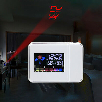 Rechargeable Projection Clock Projector Alarm Temperature Humidity USB Red LED