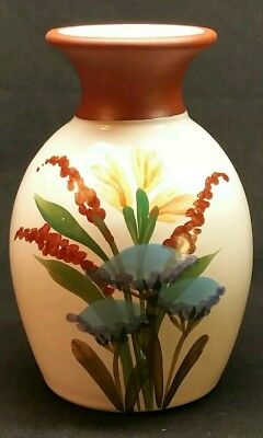 Emerson Creek Pottery Hand Painted Floral Design Terracotta Vase '93