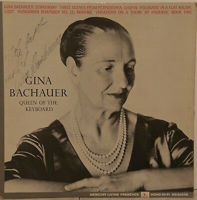 Rare Gina Bachauer Queen Of The Keyboard Signed Vinyl Record With 8X10 Promo Pic