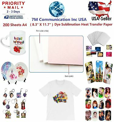 200 Sheet A4 Sublimation Heat Transfer Paper for Mug Cup Plate Cotton T- Shirt~