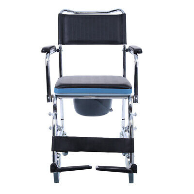 Commode Shower Mobile Chair Aluminium Footrest Bedside Toilet Wheelchair Fold-up