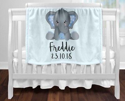 Personalised Baby Blanket Fleece Newborn Gift  Keepsake Shower Blue Elephant