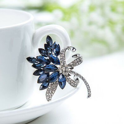 Multicolor Floral Bouquet Brooch Shining Crystal Inlay Female Collar Pin Badge