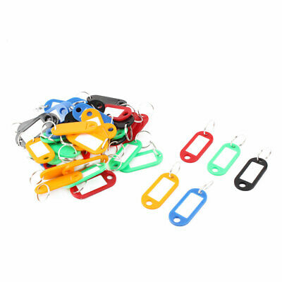 Plastic Keychain Key ID Label Name Tags Split Ring Assorted Color 50 Pcs