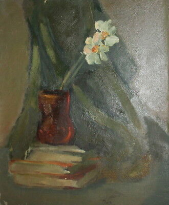 Antique european oil painting still life with flowers and books