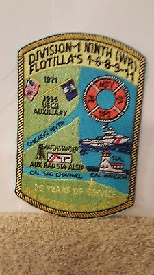 U.S. COAST GUARD DIVIVION 1 NINTH (WR) FLOTILLA  PATCH. 5 X 3 1/4  Inches