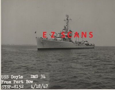 "USS DOYLE DMS-34 (1) OFFICIAL B&W 7 1/2"" X10 PHOTO US NAVY 1947  ex DD-494"