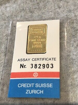 CHRISTMAS SALE! Sealed 2.5 Gram Credit Suisse 24K Gold Bar 9999 #382903 Valcambi
