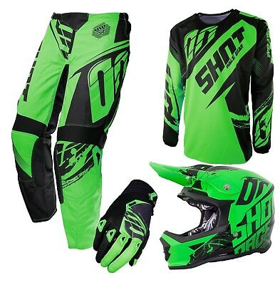Clearance Stock Shot 2017 Kids Neon Green Motocross Kit Combo Optional Helmet