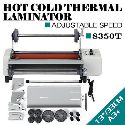 """13"""" A3 Roll Laminator Speed Adjustable Four Roller Hot Cold Laminating Machine"""