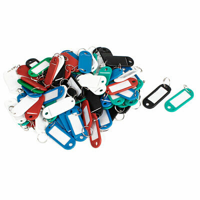 80 Pcs Assorted Color Key ID Label Tags Split Ring Keyring Keychain