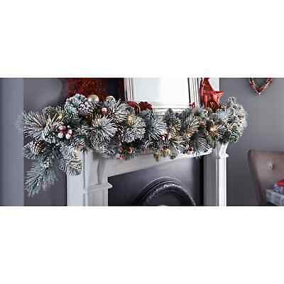 Brand New Beautiful Pre-lit SNOWY Garland 6ft Christmas Decoration 26 LED'S