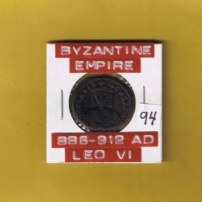 "Ancient Byzantine Empire coin of ""Leo VI"" The Wise, 886-912 AD.. AE follis"
